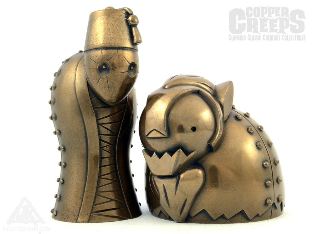 Classic movie monsters re-imagined with a unique robotic twist. Designed & Handmade in the UK by artist Doktor A (Bruce Whistlecraft). Series One inspired by Imhotep the Mummy and The Wolfman. Cold Cast Bronze Edition.